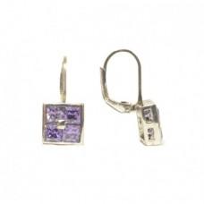Stříbrné náušnice s fialovými zirkony AG0051