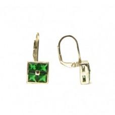 Stříbrné náušnice se zelenými zirkony AG0050