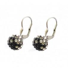 Stříbrné náušnice Swarovski com. kuličky s černými kameny SW0014