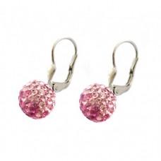 Stříbrné náušnice Swarovski com. kuličky s růžovými kameny SW0014