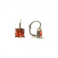 Stříbrné náušnice Swarovski com. s světle červeným kamínkem SW0009