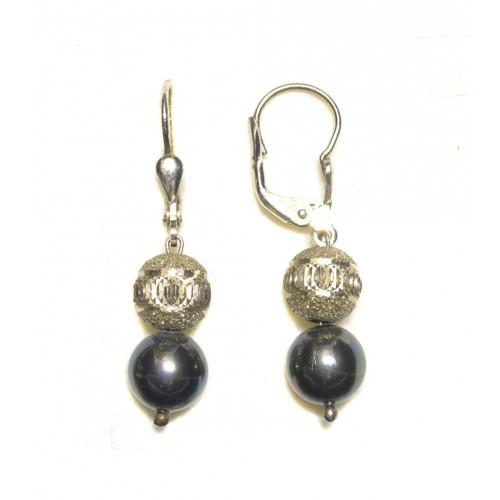 Stříbrné náušnice - visací s černou perlou AG0188