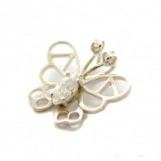 Stříbrný přívěsek motýl se zirkony AG0177