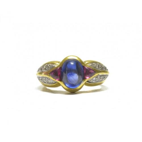 e2026496c Luxusní zlatý prsten osazený safírem, rubíny a diamanty AUBAZAR0069 - žluté  zlato (velký certifikát ČGL)