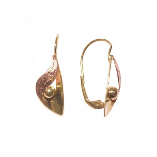 Zlaté dámské visací náušnice AUBAZAR0065 - kombinované zlato