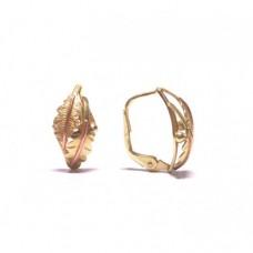 Zlaté dámské visací náušnice dubový list AUBAZAR0088 - celozlaté na klapku