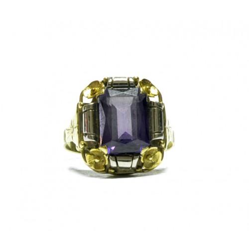 Zlatý dámský prsten barokáč s fialovým kamenem AUBAZAR0171 - ruční práce
