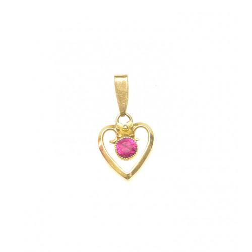 f47cde54c Zlatý přívěsek srdce s červeným kamenem AUBAZAR0136 - žluté zlato