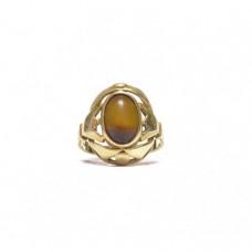 Zlatý prsten barokáč s tygřím okem AUBAZAR0059