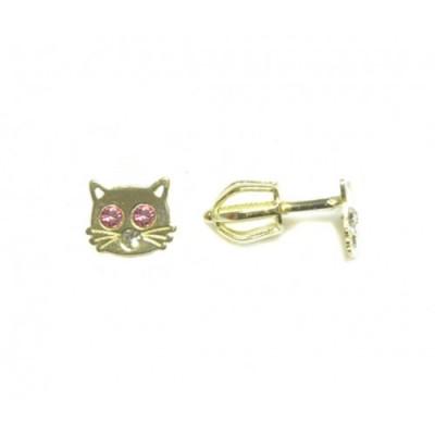 Zlaté dětské náušnice kočičky AU0717 - pecky na šroubek růžové zirkony
