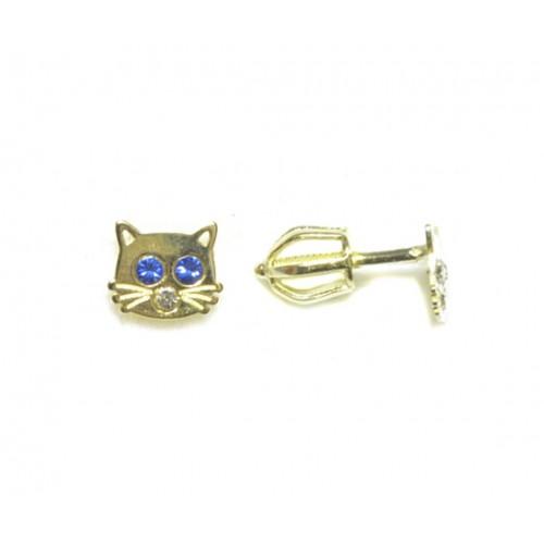 Zlaté dětské náušnice kočičky AU0752 - pecky na šroubek červené zirkony