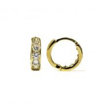 Zlaté dětské náušnice kroužky se zirkony AU0504