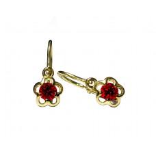 Zlaté dětské náušnice kytičky s červeným kamenem AU0517