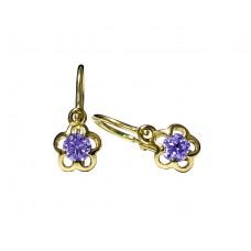 Zlaté dětské náušnice kytičky s fialovým kamenem AU0010