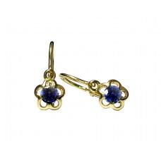 Zlaté dětské náušnice kytičky s modrým zirkonem AU0484