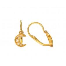 Zlaté dětské náušnice měsíčky ve žlutém zlatě se zirkony AU0006