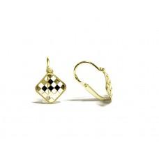 Zlaté dětské náušnice šachovnice AU0744 - celozlaté