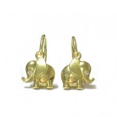 Zlaté dětské náušnice sloni ze žlutého zlata AU0278