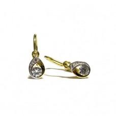 Zlaté dětské náušnice v kombinovaném zlatě se zirkony AU0489