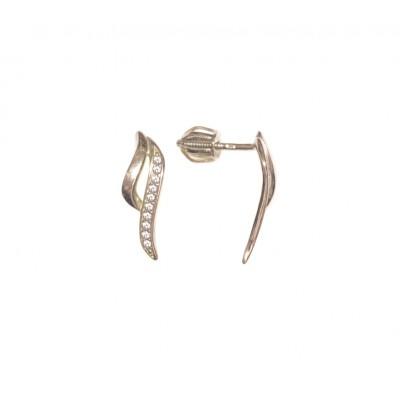 Zlaté dámské náušnice se zirkony v bílém zlatě AU0856 - pecky na šroubek