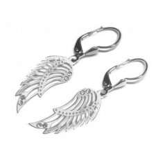 Zlaté náušnice andělská křídla se zirkony AU0454 - visací