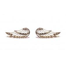 Zlaté náušnice andělská křídla se zirkony AU0657 - pecky podél ucha