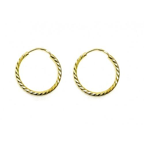 Zlaté náušnice kruhy s rytinou AU0052 - žluté zlato