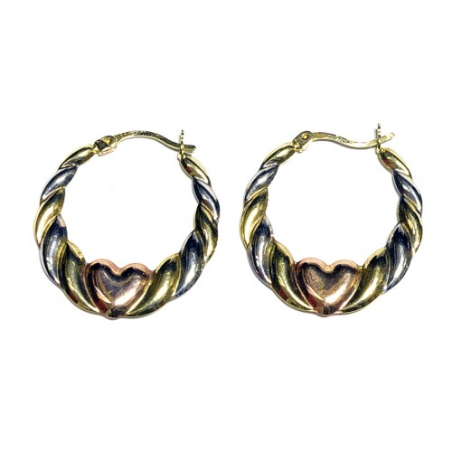 Zlaté náušnice kruhy se srdíčkem AU0813 - trojí zlato