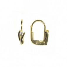 Zlaté náušnice se zirkonem AU0639 - visací na klapku