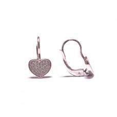 Zlaté náušnice srdce se zirkony na klapku AU0913 - bílé zlato