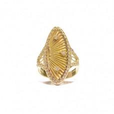 Zlatý dámský super masivní prsten osázený zirkony AU0161 - obrovský