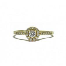 Zlatý prsten osázený zirkony AU0632