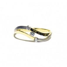 Zlatý prsten se třemi zirkony AU0760 dvojí zlato