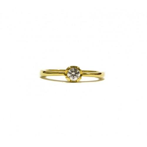 8e444618a Zlatý zásnubní prsten se zirkonem AU0579