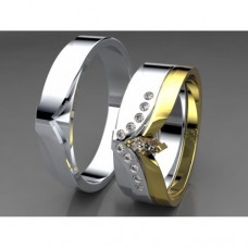 Zlaté snubní prsteny AUSP0009 - skládací