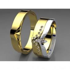 Zlaté snubní prsteny AUSP0010 - skládací