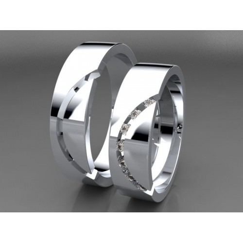 Zlaté snubní prsteny s diamanty AUSPD0005