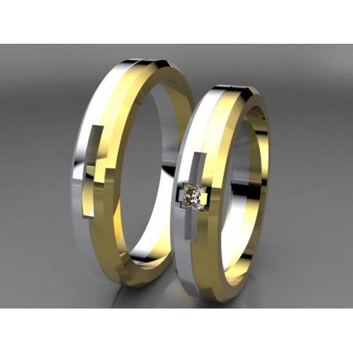 Zlaté snubní prsteny s diamantem AUSPD0027 - kombinované zlato