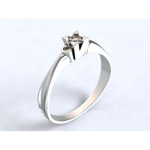 2bef2fced Zlatý zásnubní prsten s diamantem AUZSPD0006 - bílé zlato