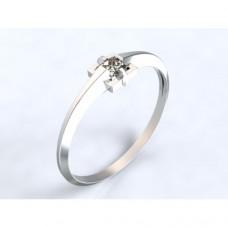 Zlatý zásnubní prsten s diamantem AUZSPD0008 - bílé zlato