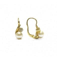 Zlaté dámské visací náušnice s perlou a zirkonem AUBAZAR0113 - na klapku