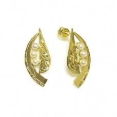 Zlaté dámské náušnice na šroubek s říčními perlami AU0410