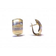 Zlaté dámské visací náušnice celozlaté AUBAZAR0088 - kombinované zlato