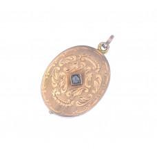 Luxusní zlatý přívěsek Art deco otevírací medailón na fotku s diamantem AUBAZAR0069