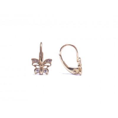 Zlaté dětské - dívčí náušnice motýlci se zirkony AU0608 -  na klapku