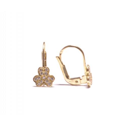 Zlaté dámské - dívčí náušnice na klapku AU0941 - čtyřlístek se zirkony