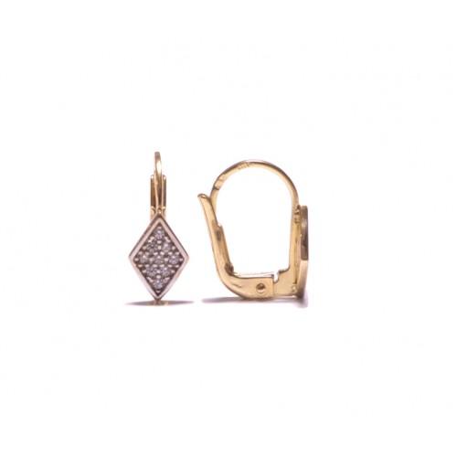 Zlaté dámské - dívčí náušnice na klapku AU0942 - kosočtverce se zirkony