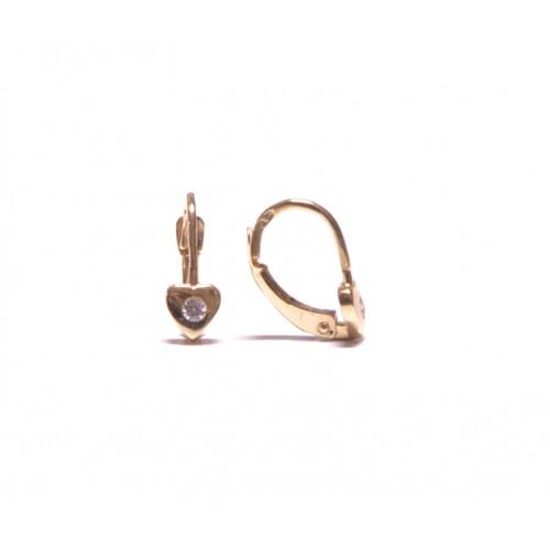 Zlaté dětské - dívčí náušnice na klapku AU0939 - srdíčka se zirkonem