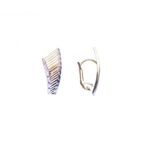Celozlaté visací náušnice na klapku AU0661 - kombinované zlato