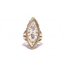 Zlatý masivní prsten celozlaty AU0631- kombinované zlato
